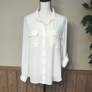 Loft top size large silky button up white blouse